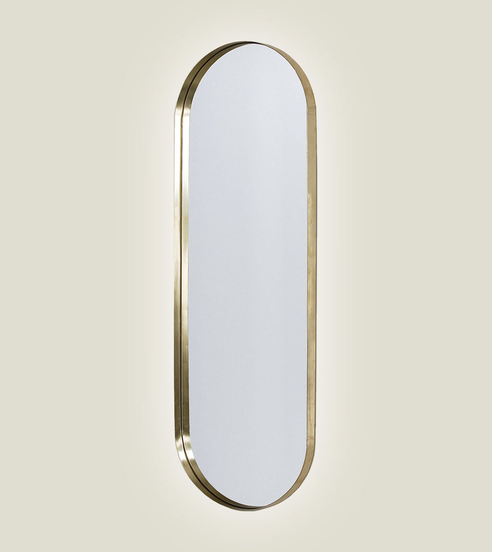 Brass Deep Frame Pill Mirrors - LED Backlit