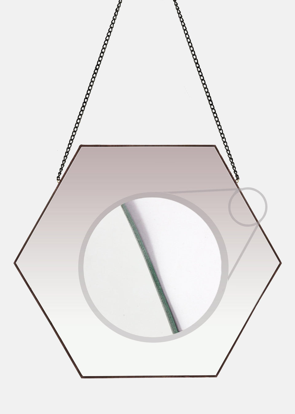 Hexagonal Wall Mirror - With Chain