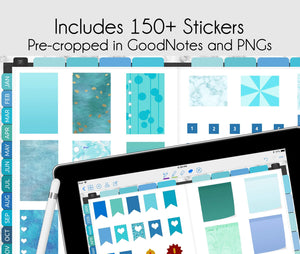 good notes digital stickers cropped in digital planner for goodnotes, notability, xodo, ipad planner & android