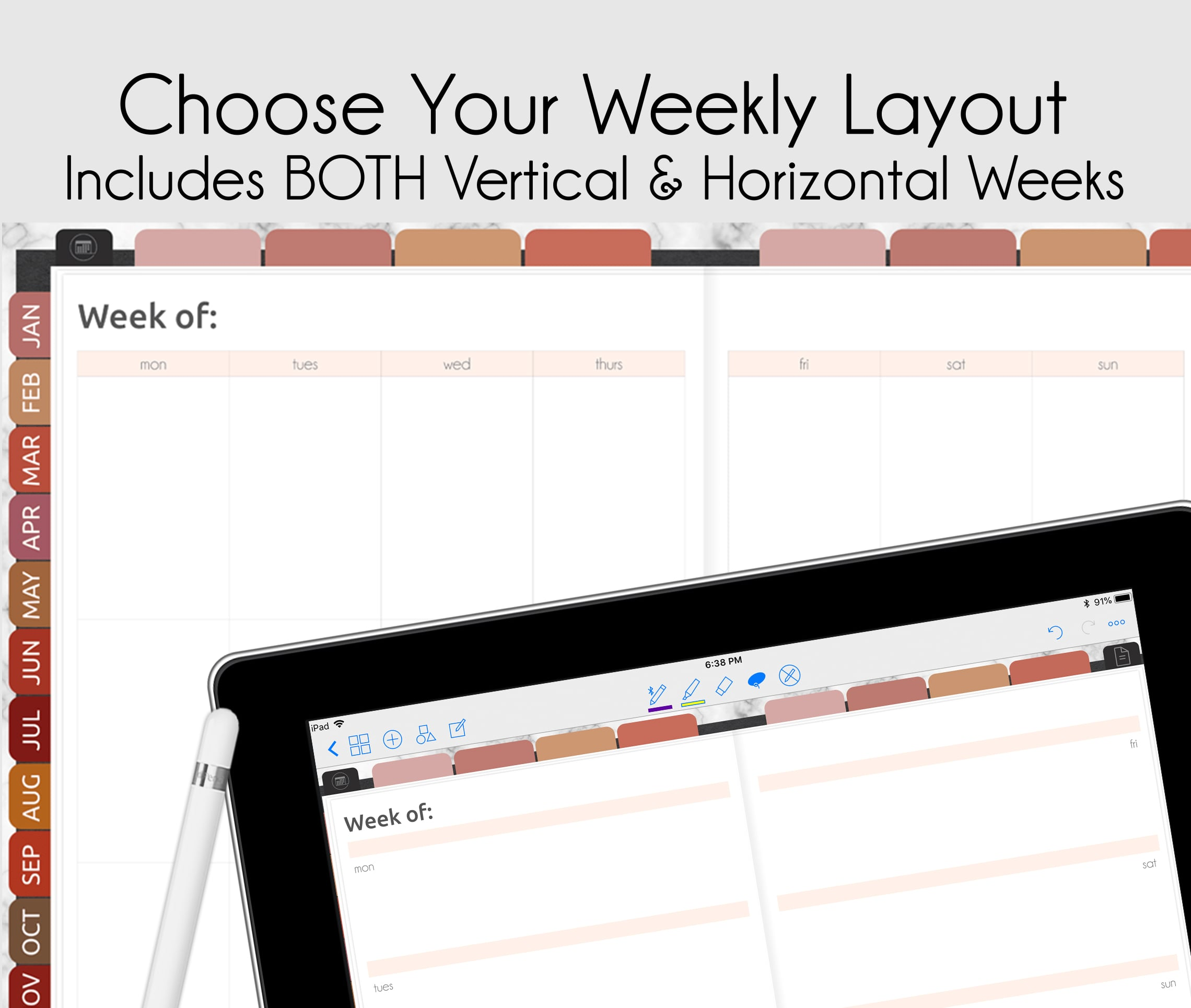 weekly horizontal & vertical digital planner for goodnotes, notability, xodo, ipad planner & android