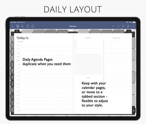 daily hourly appointment digital planner for goodnotes, notability, xodo, ipad planner & android