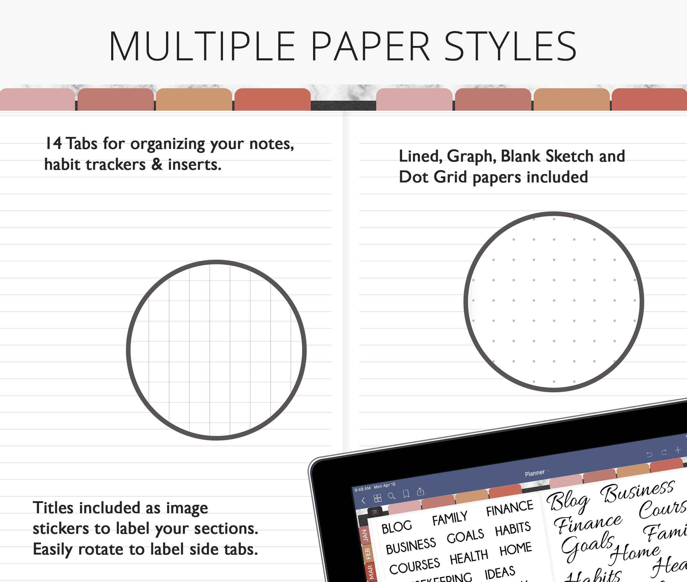 lined graph dot grid paper in digital planner for goodnotes, notability, xodo, ipad planner & android