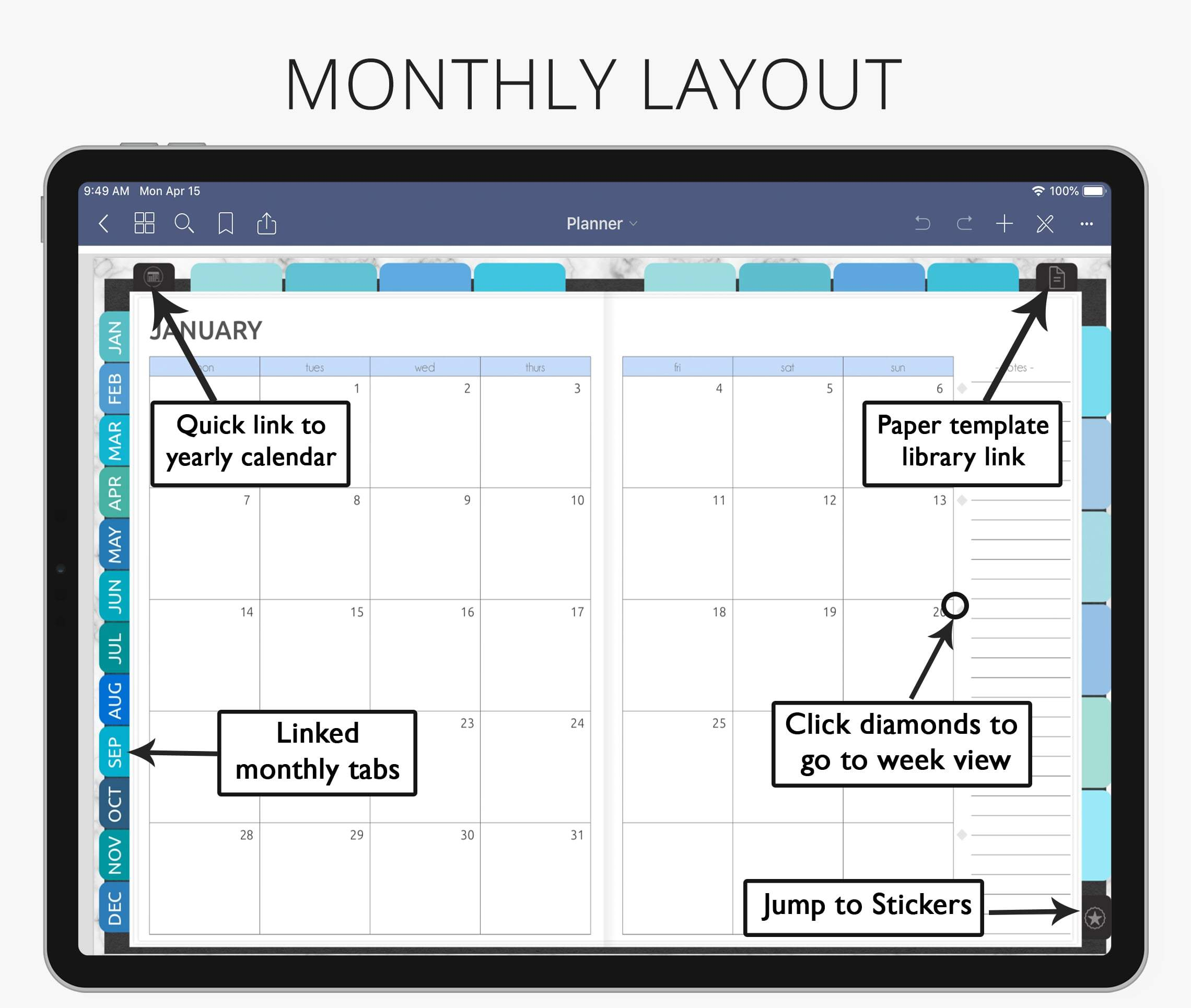 monthly layout digital planner for goodnotes, notability, xodo, ipad & android
