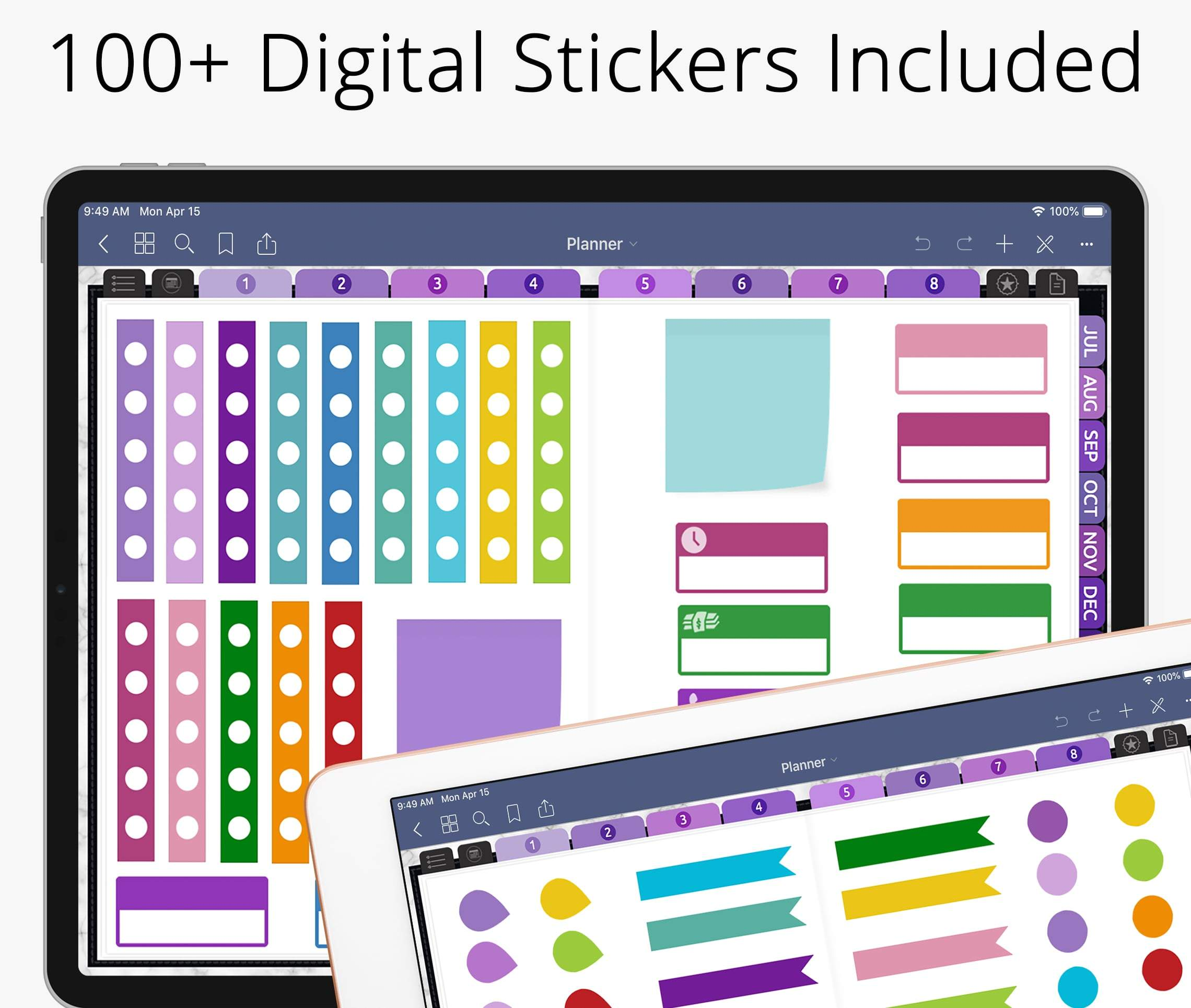 goodnotes digital stickers cropped in digital planner for good notes, notability, xodo, ipad planner & android
