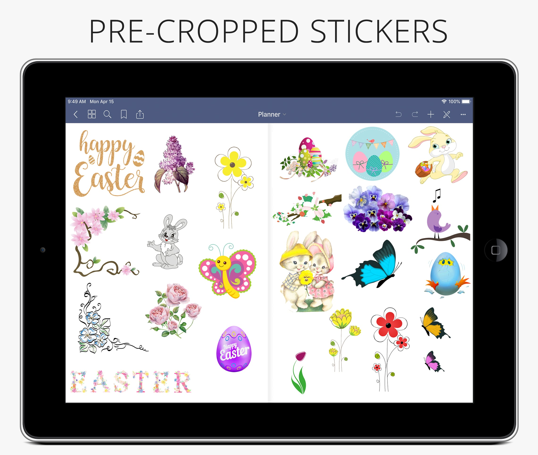 spring easter digital planner stickers for goodnotes, ipad planner digital stickers, bullet journal stickers android planner