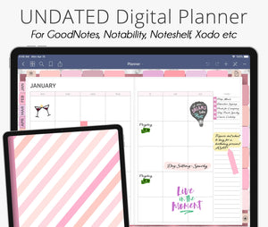 Rose Gold Pink Undated Weekly Digital Planner