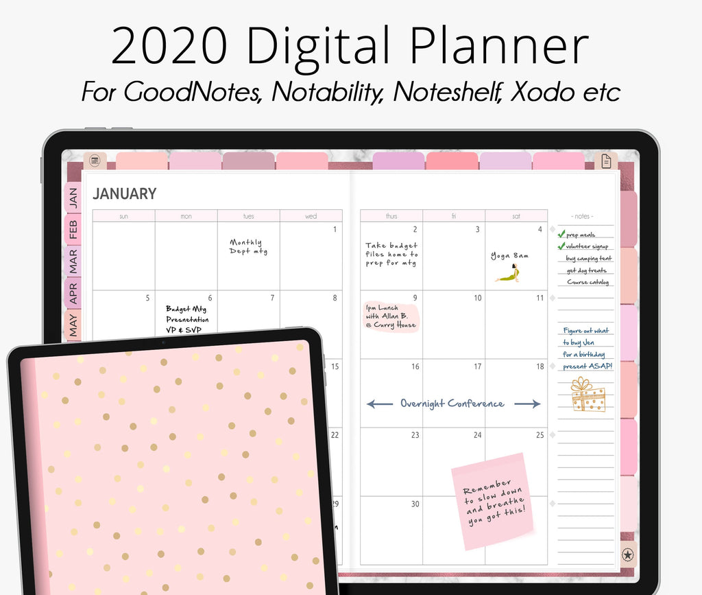 Rose Gold Pink 2020 Dated Digital Planner
