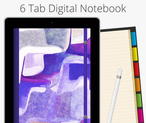 6 Tab Digital Notebook, Purple Watercolor Abstract