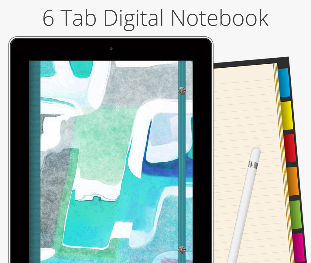 6 Tab Digital Notebook, Teal Watercolor Abstract