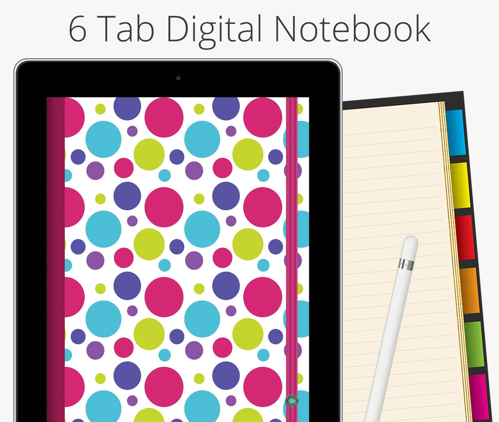 6 Tab Digital Notebook, Polka Dots
