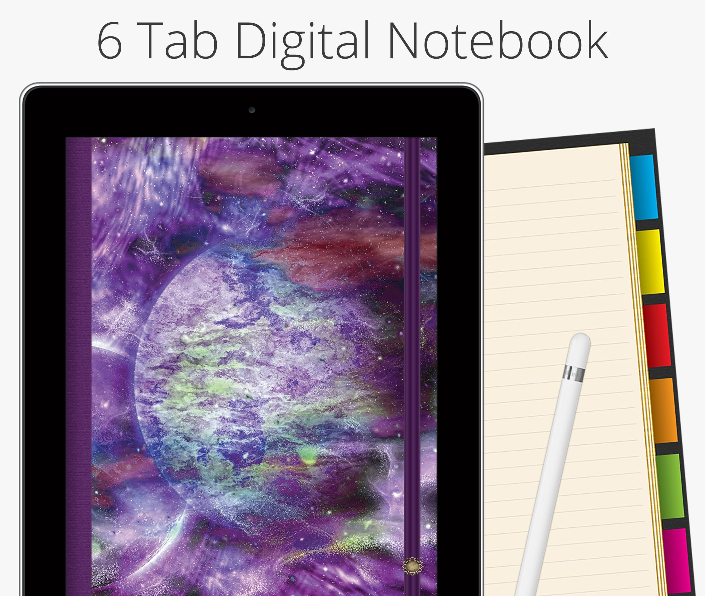 6 Tab Digital Notebook, Purple Planet