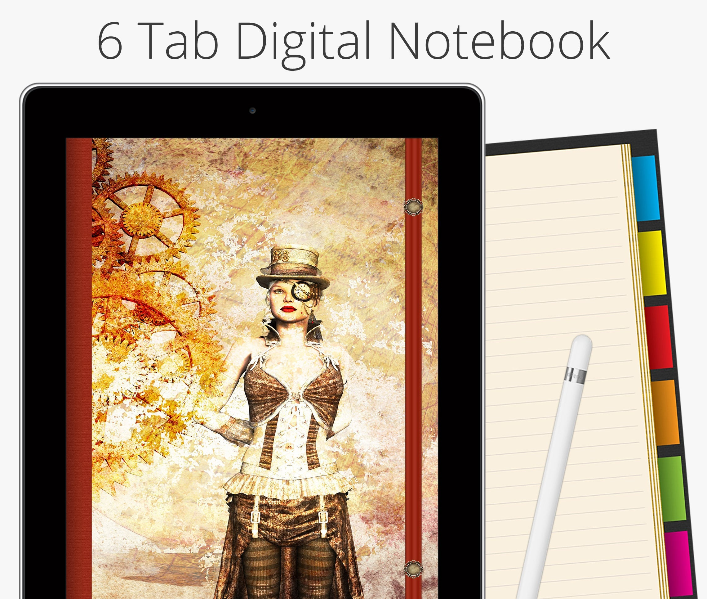 6 Tab Digital Notebook, Steampunk