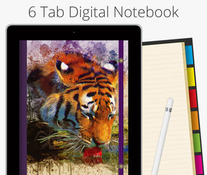 6 Tab Digital Notebook, Painted Tiger