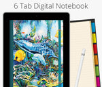 6 Tab Digital Notebook, Dolphins & Sea Turtle