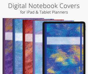 5 Digital Planner Covers, Abstract Breeze