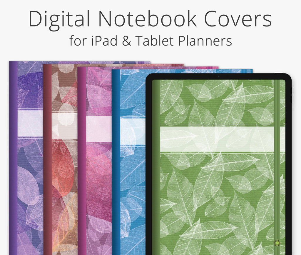 5 Digital Planner Covers, Falling Leaves