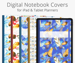 5 Digital Planner Covers, Boho Feathers
