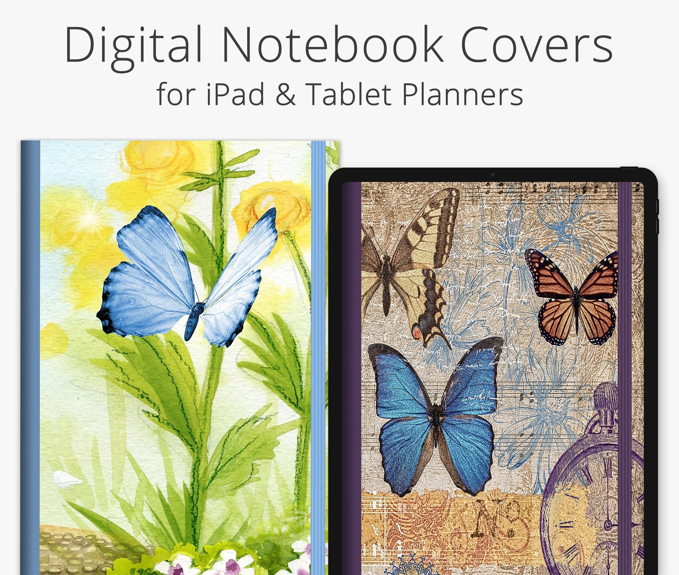 5 Digital Planner Covers, Vintage Butterflies