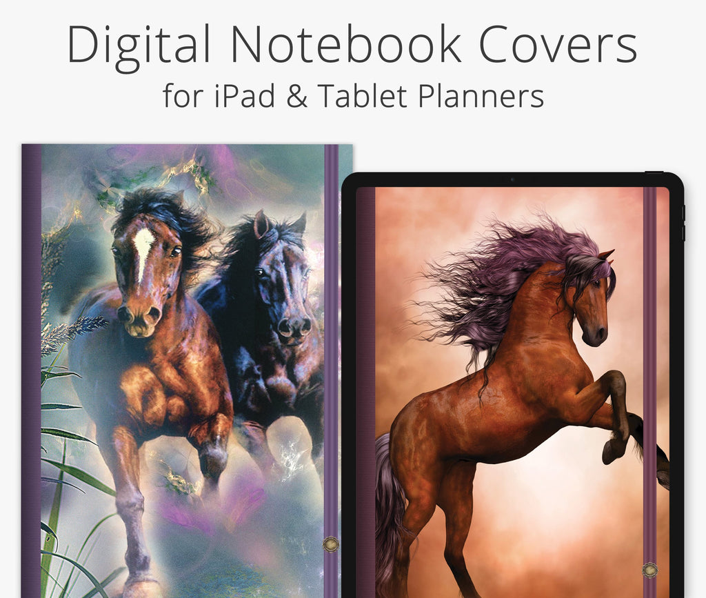 5 Digital Planner Covers, Wild Horses