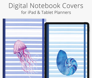 5 Digital Planner Covers, Coastal Stripes