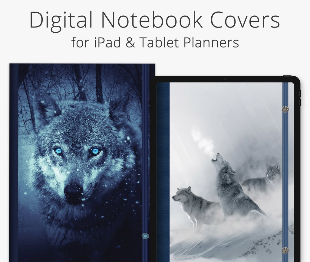 5 Digital Planner Covers, Wolf Pack