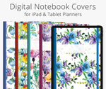 5 Digital Planner Covers, Watercolor Floral