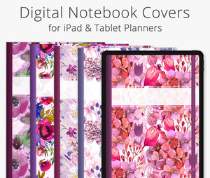 5 Digital Planner Covers, Wild Berry Floral