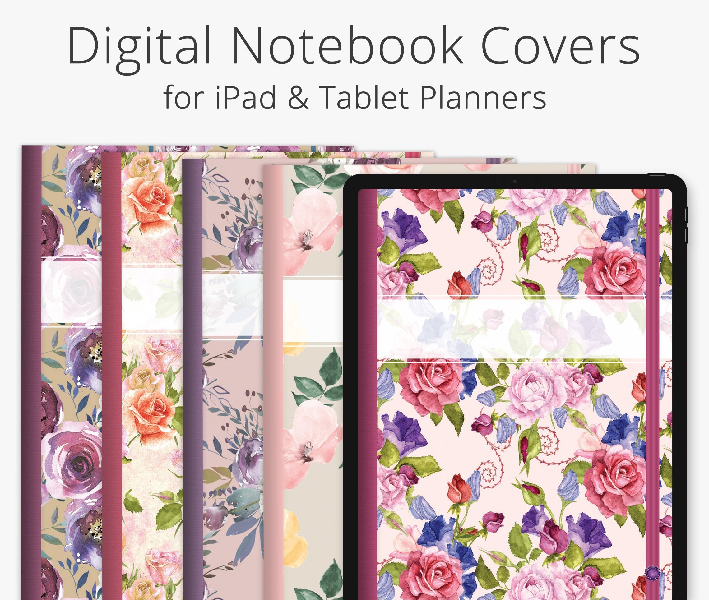 5 Digital Planner Covers, Romantic Floral