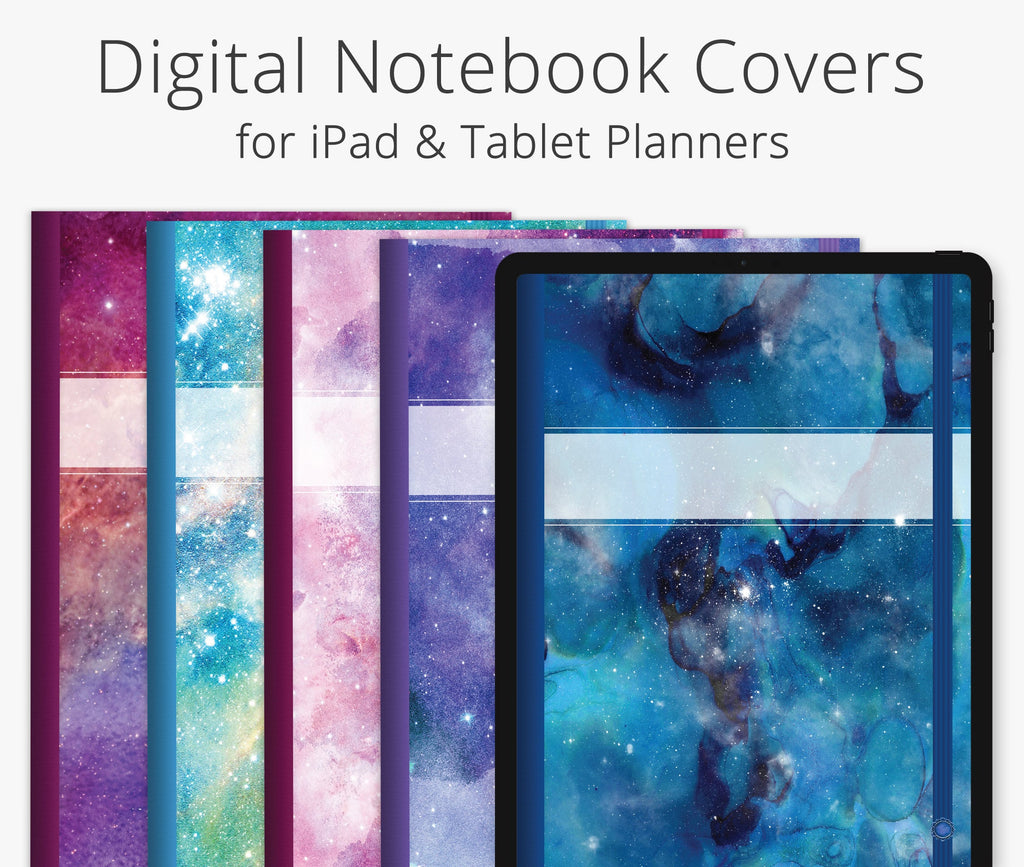 5 Digital Planner Covers, Mystic Galaxy