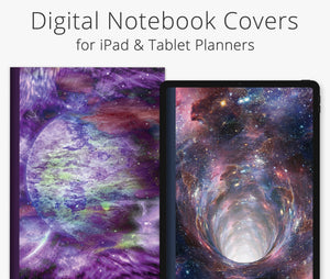 5 Digital Planner Covers, Outer Space