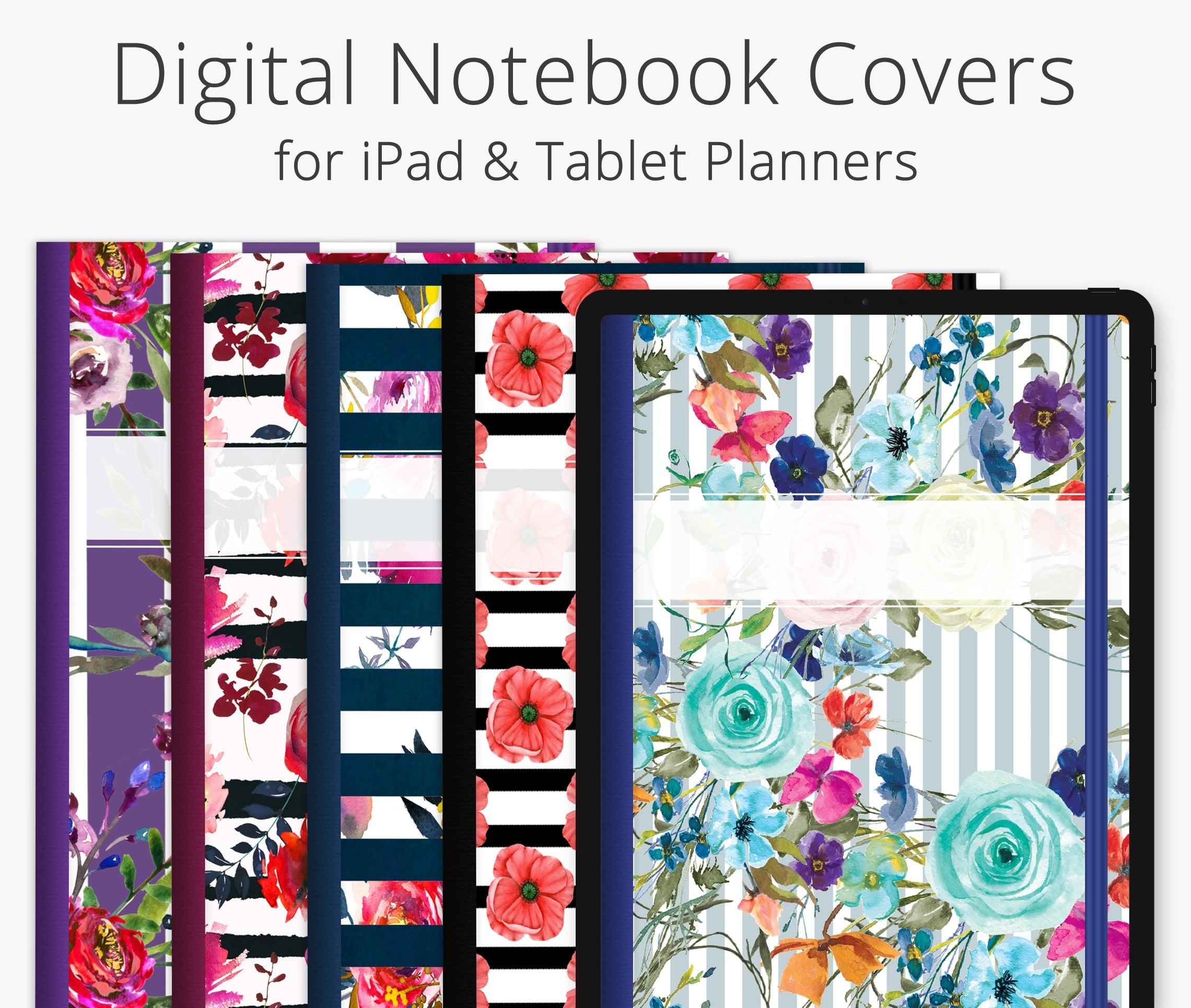 5 Digital Planner Covers, Striped Florals