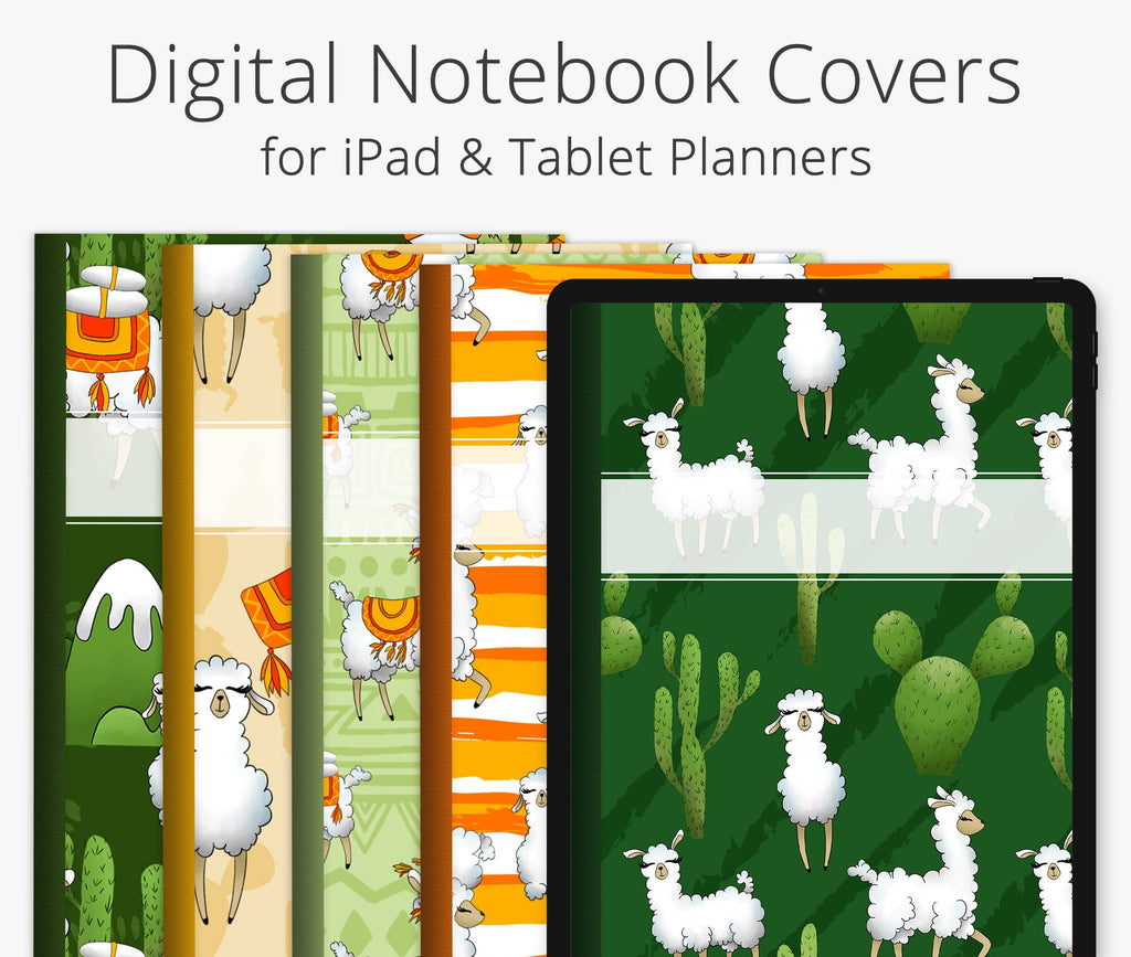 5 Digital Planner Covers, Llamas & Alpacas