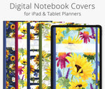 5 Digital Planner Covers, Sunflowers
