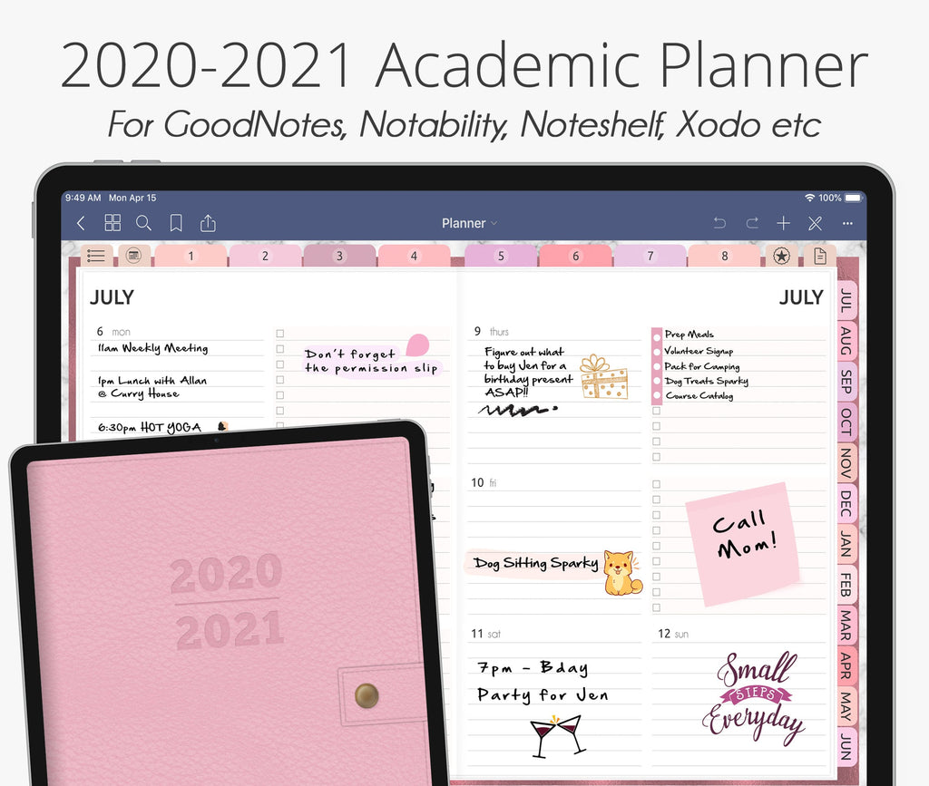 July 2020 - June 2021 Academic Planner, Rose Gold