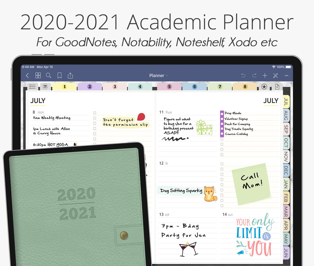 July 2020 - June 2021 Academic Planner, Pastel