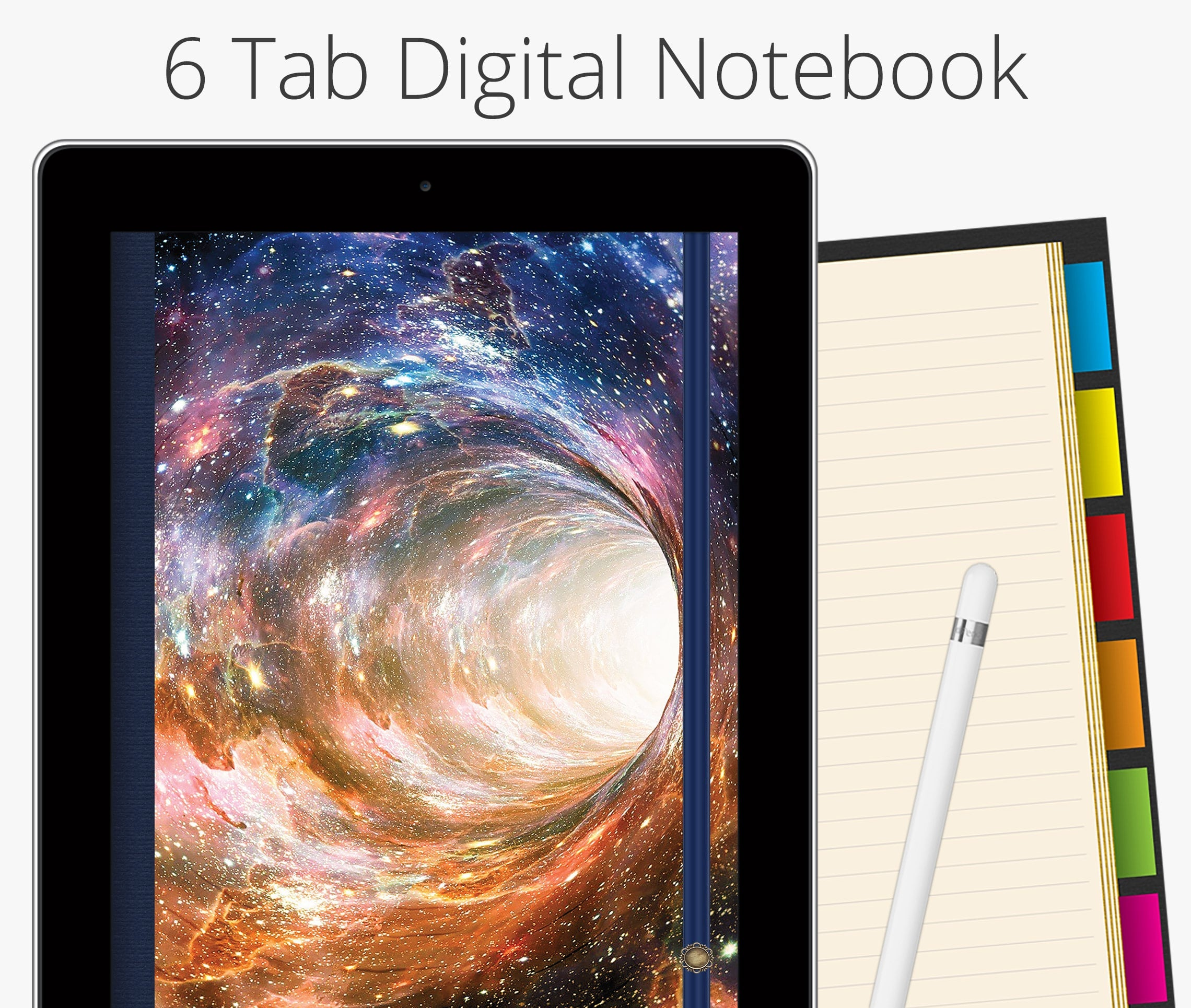 6 Tab Digital Notebook, Outer Space Wormhole