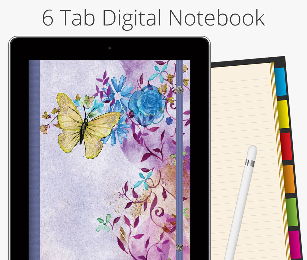 6 Tab Digital Notebook, Yellow Butterfly