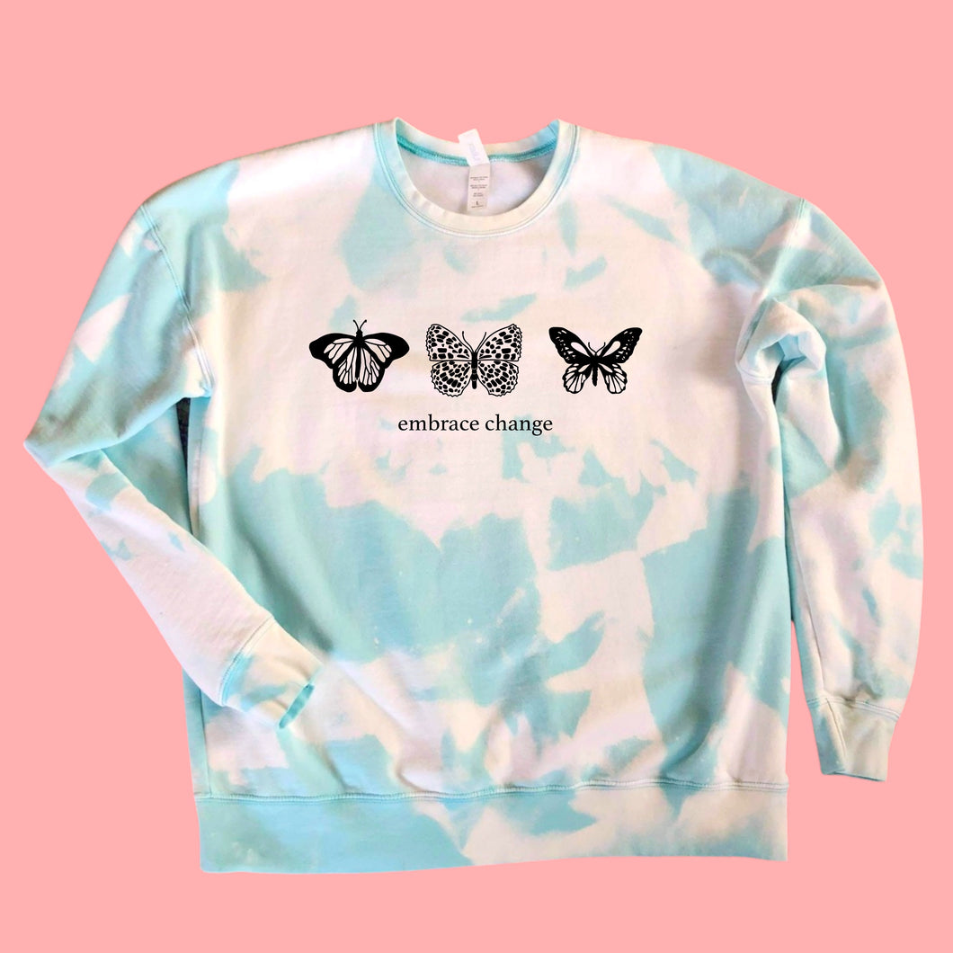 Embrace Bleached Tie Dye butterfly a pullover