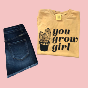 You Grow Girl Comfort Colors Retro Tee Ant Gold