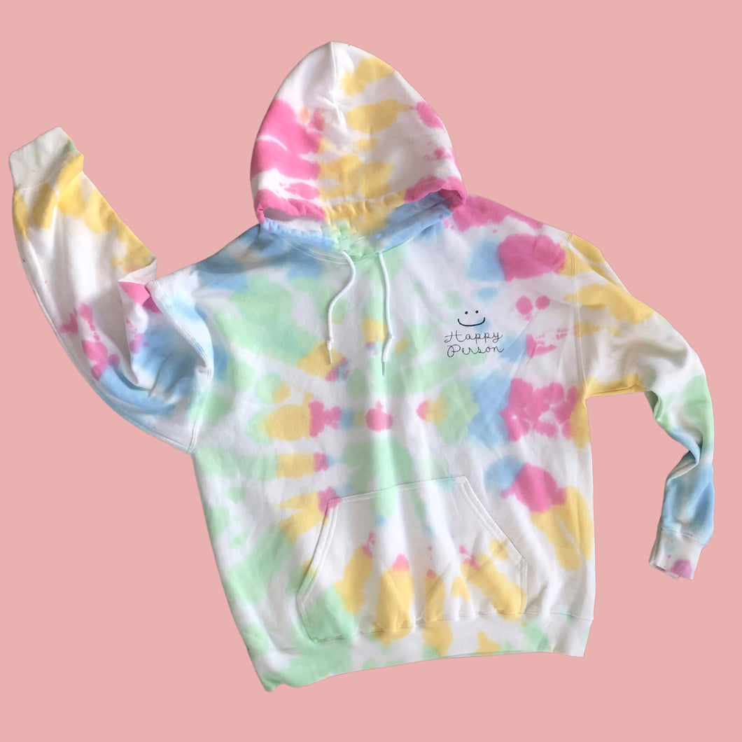 Happy Person- Dear Person on the Back Message  Tie Dye Hoodie