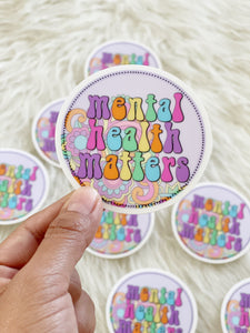 Mental Health Matters Clear Circle Sticker
