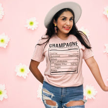 Load image into Gallery viewer, Champagne Nutrition Facts Graphic Tee