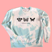 Load image into Gallery viewer, Embrace Change Bleached Tie Dye butterfly a pullover