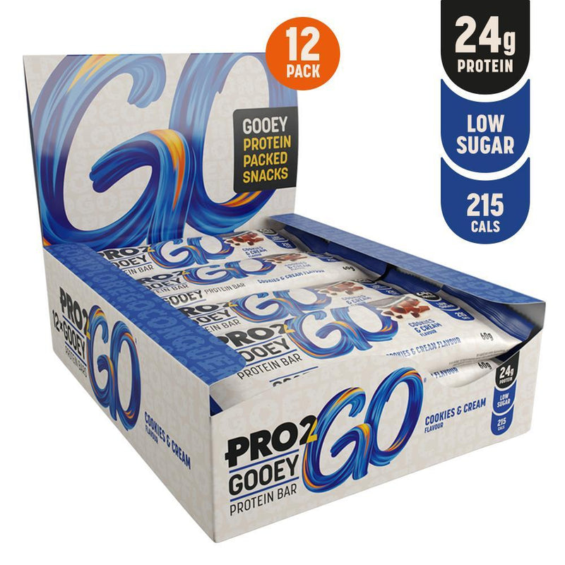 PRO 2GO GOOEY PROTEIN BAR 60G X 12 COOKIES & CREME Multipack