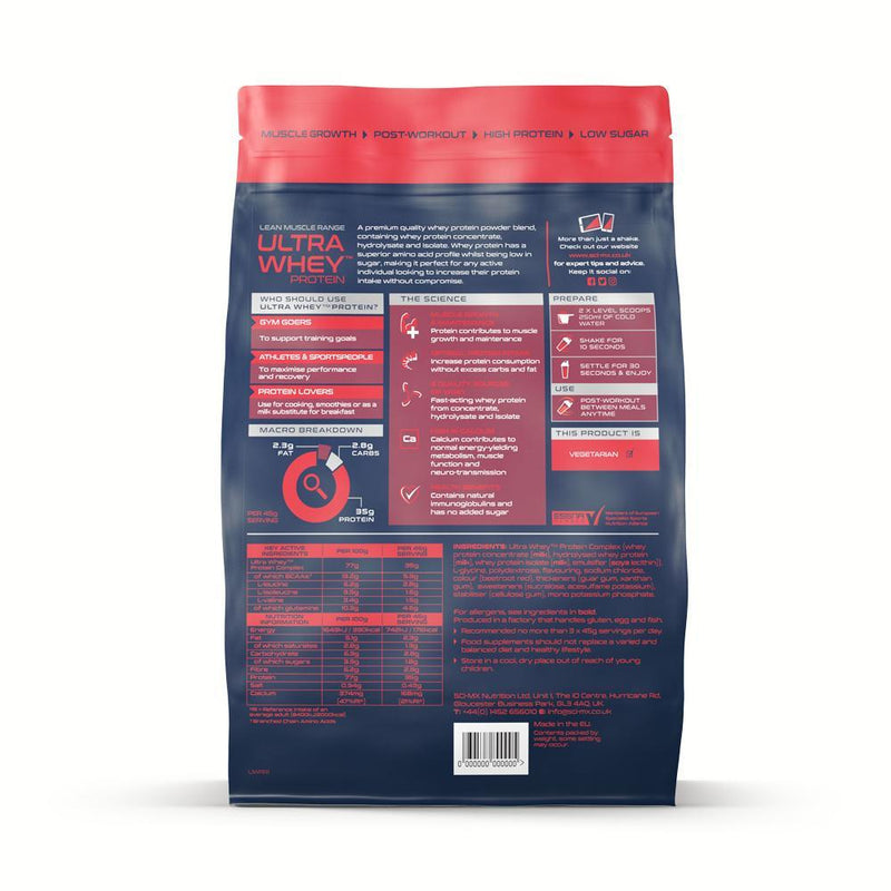 SCI-MX ULTRA WHEY PROTEIN 908G LIMITED EDITION Packungsrückseite