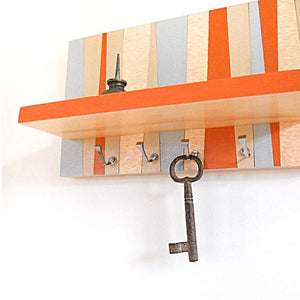 wall mounted shelf with hooks