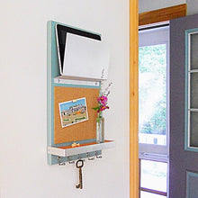 Load image into Gallery viewer, Angled shot of the light blue cork board organizer in the living room.