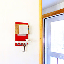 Load image into Gallery viewer, Small mail holder piece titled Topaz. This mail holder offers a singular mail holder while still having the key hooks and attached shelf.