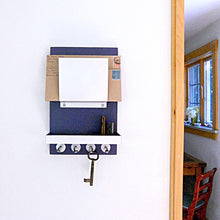 Load image into Gallery viewer, Navy blue mail holder mounted on the wall.