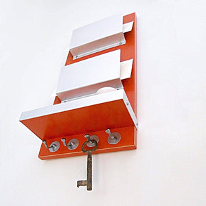 Shot from below of a wall mounted double mail holder.